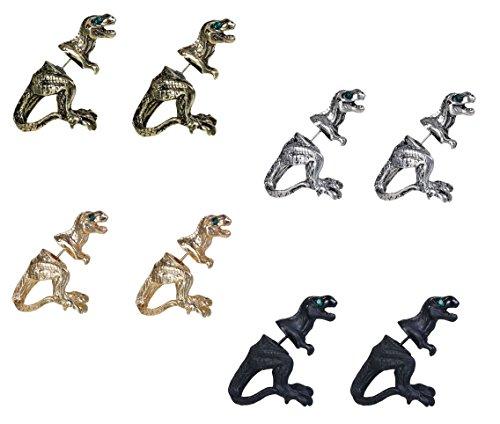 Dinosaur T-Rex Earrings, 4 Sets Tyrannosaurus Rex With Rhinestone Eyes
