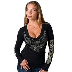 Hot Leathers Lady Rider Upwing Eagle Ladies Long Sleeve Biker Tee (Black, XX-Large)