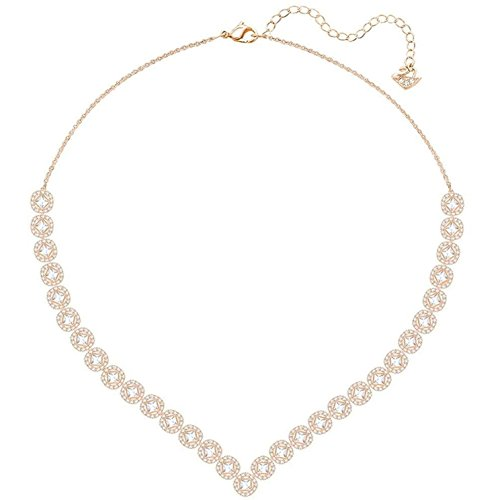 Swarovski Crystal Large White Angelic Square Rose Gold-Plated Necklace
