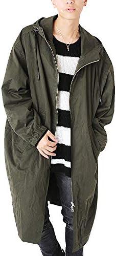 オーバー サイズ ロング コート メンズ ナイロン アウター フード付き ミリタリー ジップアップ 624052