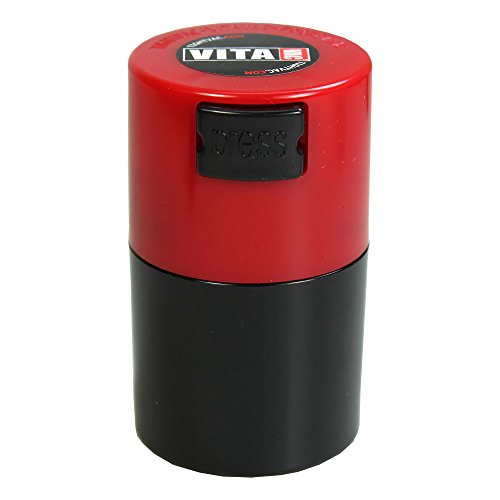 Vitavac - 5g to 20 grams Airtight Multi-Use Vacuum Seal Portable Storage Container for Dry Goods, Food, and Herbs - Red Cap & Black Body