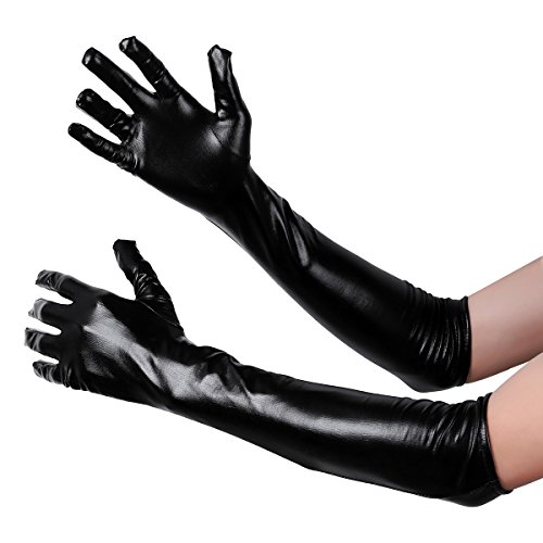 iiniim Women Wetlook Shiny Stretchy Fingerless Long Gloves Party Club Costume