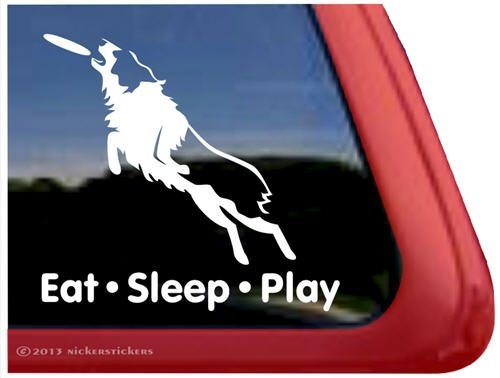 Eat Sleep Play - Australian Shepherd Disc Dog Window Decal Sticker