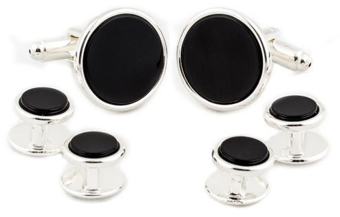 Sterling Silver Plated Black Onyx Cufflinks Studs Formal Set with Presentation Box ()