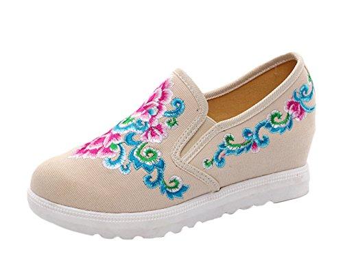 ICEGREY Handgemachte Schuhe Wedge Stickerei Damen Beige Blumen Gestickte Sneaker r75wrpq