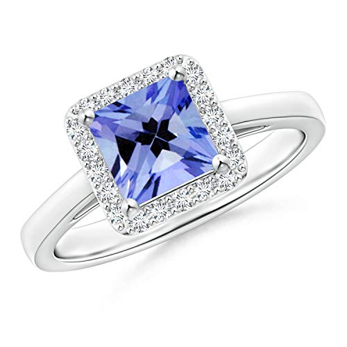 Classic Square Tanzanite Halo Ring in Platinum (6mm Tanzanite) -