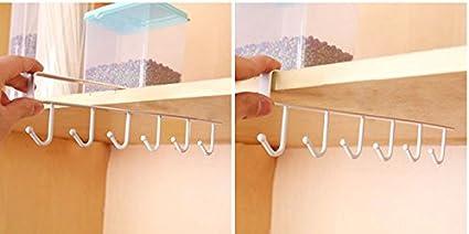 waitFOR Mug Hooks Under Shelf Mug Holder Cups Storage Rack Drilling Free Coffee Cups Holder Kitchen Utensil Holder Key Hooks Ties Belts Scarf Hanging Hooks Rack