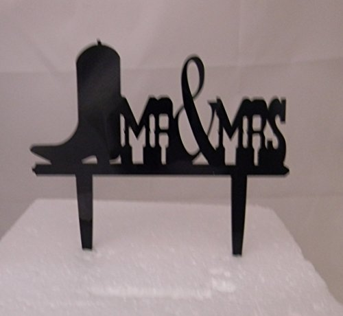 Wedding Reception Silhouette Cowboy Boot Mr & Mrs Western Cake Topper