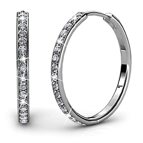 Cate & Chloe Bianca 18k White Gold plated brass Hoop Earrings with Swarovski Crystals, Crystal Drop Dangle, Sparkle Round  Small Hoop 3 Stone Tension Set Ring