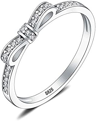 Lgsy 925 Sterling Silver Bow Ring For Dainty Gift Cz Anniversary
