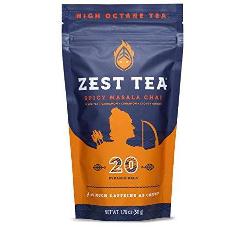 Spicy Masala Chai Energy Tea - High Caffeine Blend (3X Regular) - Healthy Coffee Substitute - 150 mg caffeine per cup (20 Bags) (50g)