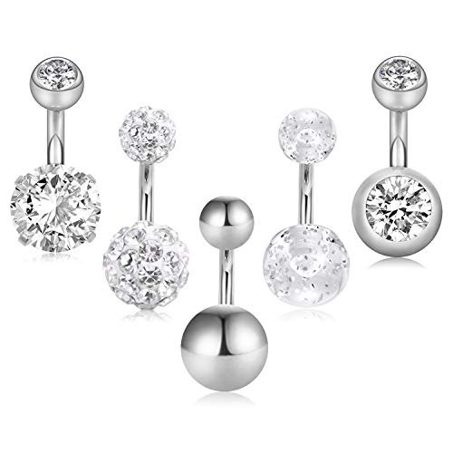 (JFORYOU 5 Pcs 14G 6mm Short Belly Button Rings Stainless Steel Petite Navel Rings 5 Style for Women Girls Body Piercing Silver Pack)