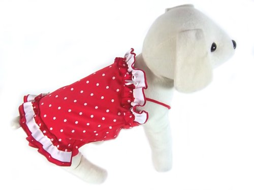 UP-Collection-Double-Tier-Bathing-Skirt-for-Dogs-White-Polka-Dots-Red-X-Small