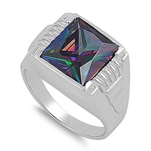 Men's Square Rainbow Simulated Topaz Cute Ring .925 Sterling Silver Band