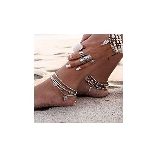 7th Moon Bohemian Leaf Anklet Vintage Silver Beach Adjustable Foot Chain Layered Anklets for Women Girls