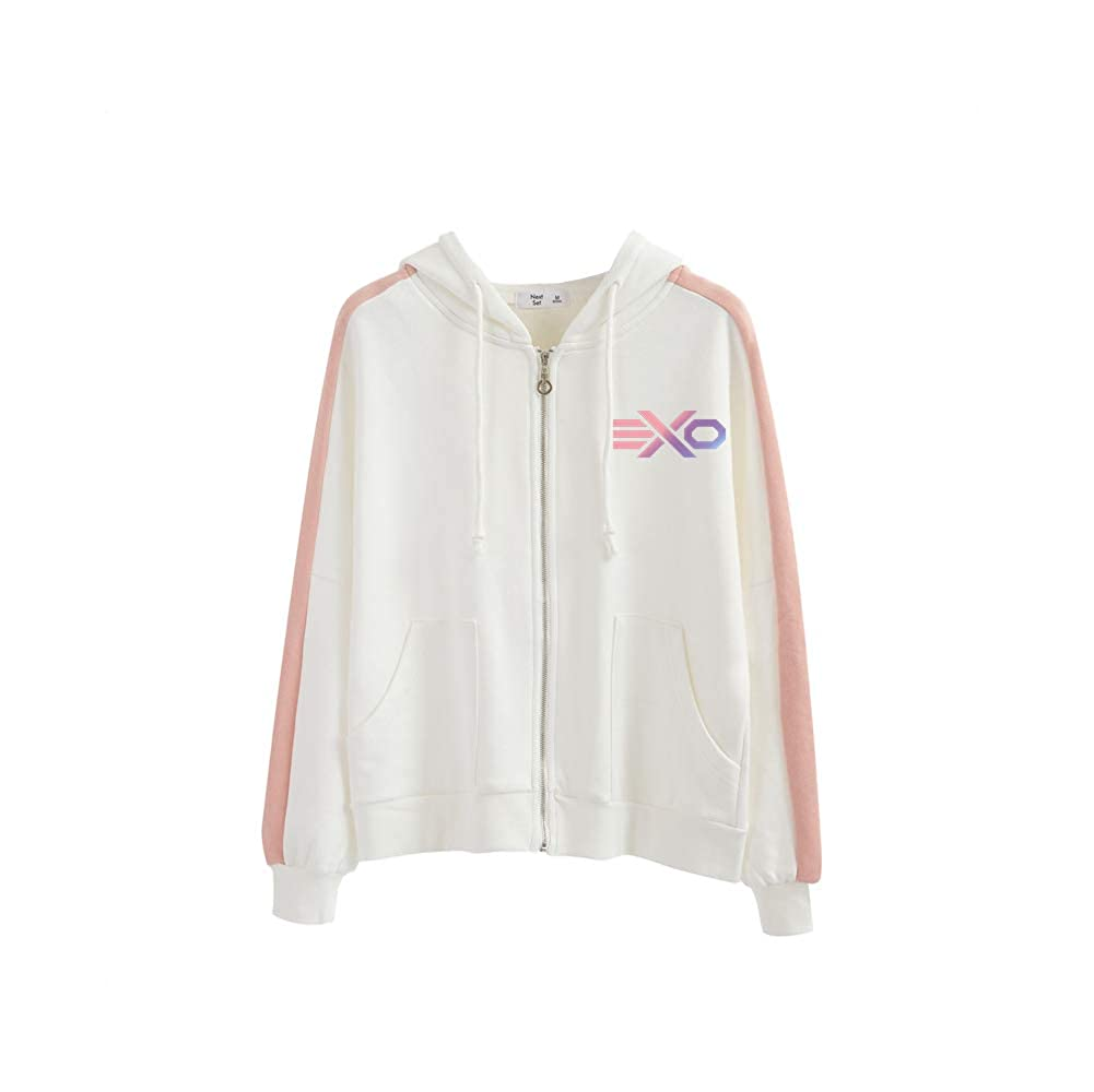 EXO Pullover Autumn and Winter The New Womens Sweater Coat Solid Color Hooded Cardigan Unisex