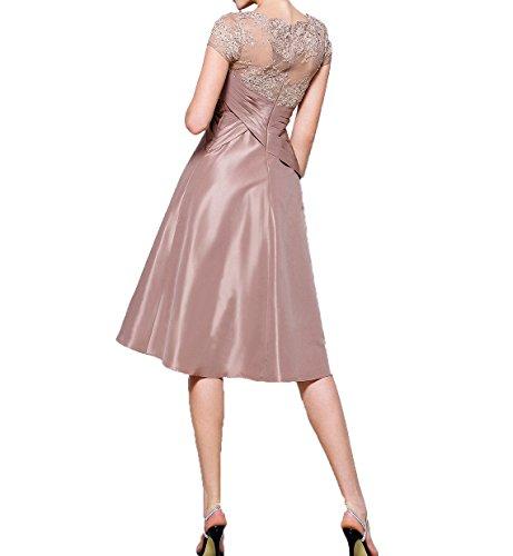 Knielang Formalkleider mit Brautmutterkleider Damen Partykleider Wassermelon Kurzes Spitze Kurzarm Abendkleider Charmant T5Uxww