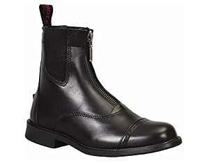 TuffRider Women's Baroque Front Zip Paddock Boots with Metal Zipper, Black, 6