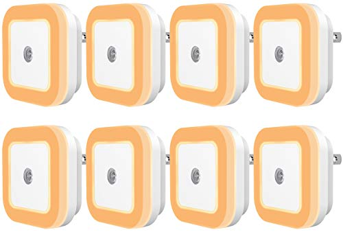 Sycees Plug-in LED Night Light Lamp with Dusk-to-Dawn Sensor for Bedroom, Bathroom, Kitchen, Hallway, Stairs, Warm White, 8-Pack by SYCEES