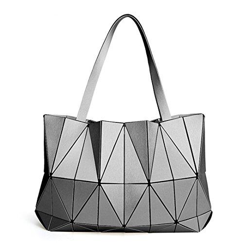 Bolsos de hombro triángulo mate Bolsos femeninos Geometría Bolsos de mujer Totalizador femenino con logotipo champagne Gray