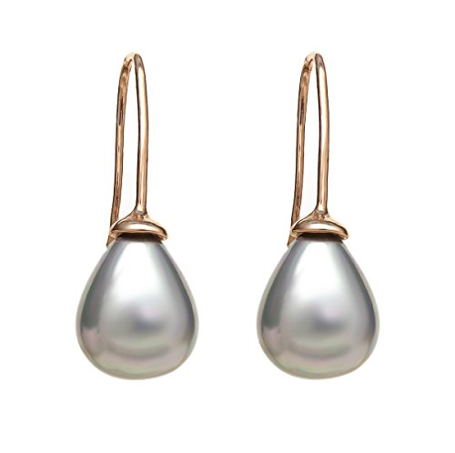 (Gem Stone King Gorgeous 10mm Shell Pearl Rose Gold Plated Dangle Earrings)