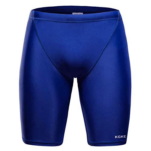 (KGKE Men's Swim Jammers by Nylon Print Jammer Swimsuit Swim Boxer Briefs (Navy, M))