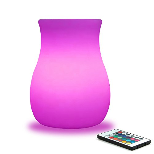 Mr.Go 6-inch RGB Color-changing LED Glowing Vase w/ Remote, Dimmable LED Flower Pot Lamp Rechargeable Night Light Mood Lighting Kids Bedroom Living Dinning Room Bar Table Party Decoration - White