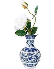 Jingdezhen Chinese keramische vaas blauw en wit Chinese porselein vaas, handgemaakte bloemenvazen kunst vaas voor huishouden, kantoor, bruiloft, tafelvazen decoratie, hoogte 14,5 cm (D)