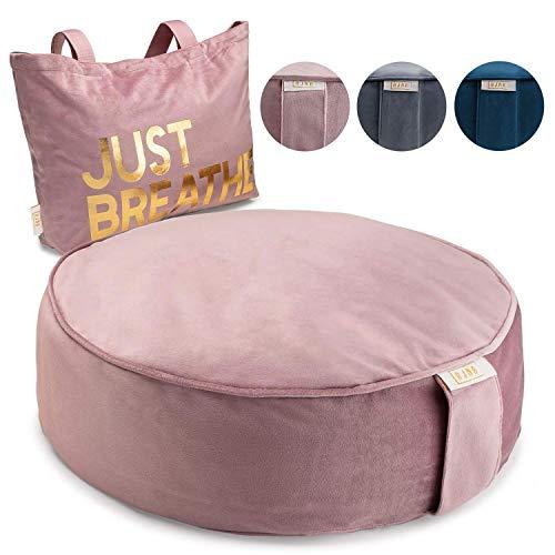 Ajna Yoga Buckwheat Meditation Pillow - Comfortable Bolster Meditation Cushion - Velvet Zippered Organic Cotton Liner to Add/Remove Hulls - Machine Washable - Carrying Handle & Free Carry Bag