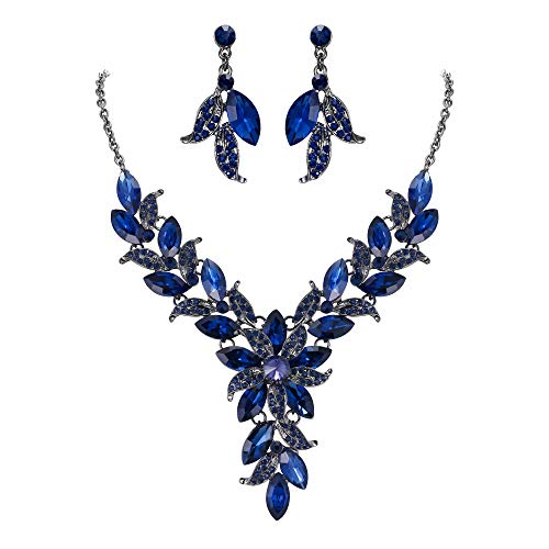 BriLove Wedding Bridal Necklace Earrings Jewelry Set for Women Crystal Enamel Marquise-Shape Leaf Flower Statement Necklace Dangle Earrings Set Navy Blue Sapphire Color Black-Silver-Tone