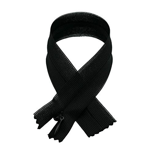 Black Invisible Tape - Invisible Zipper with Tear Drop Slider Lace Tape, 18cm (7.09inches) x 12pc/Bag, Black