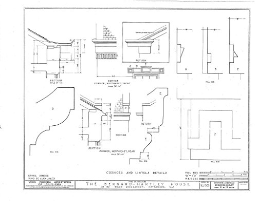 Historic Pictoric Blueprint Diagram HABS NJ,16-PAT,4- (Sheet 8 of 13) - Bernard Hartley House, 158-160 West Broadway, Paterson, Passaic County, NJ 14in x 11in]()