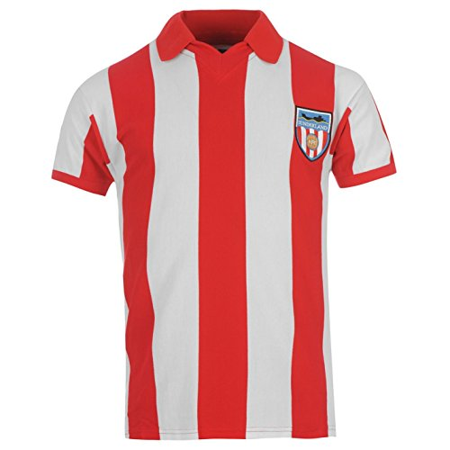 Sunderland AFC 1978 Home Jersey Score Draw Mens Rd/Wht Retro Football Soccer Top Large -