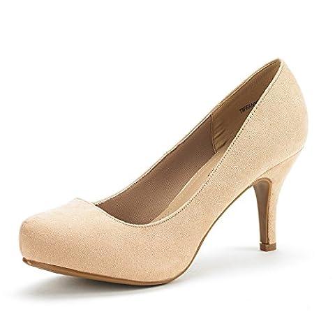 DREAM PAIRS TIFFANY Women's New Classic Elegant Versatile Low Stiletto Heel Dress Platform Pumps Shoes Nude Suede Size - Stiletto Heel Classic Pumps
