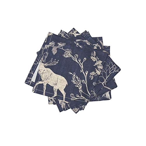Toile Linen Cotton Cloth Cocktail Napkins Deer Stag Rabbit Owl Toile Christmas Navy Moose Night Time Midnight Blue Log Cabin Nature by Nouveau Bohemian Set of 4: 10 x 10in