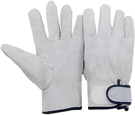 労働保護作業用手袋 メンズ革手袋耐摩耗性やけ防止溶接作業用手袋、12ペア (Color : Gray, Size : XL)