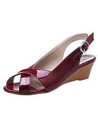 RizaBina Women Comfort Slingback Wedge Sandals Cross Strap