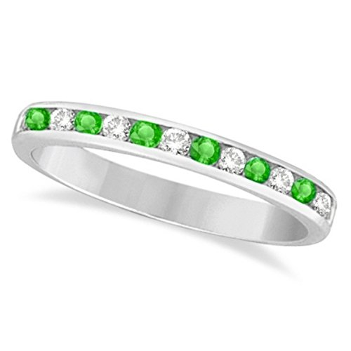 (0.40ct) Stackable Channel-Set Green Tsavorite Garnet Stone and Diamond Ring Band 14k White Gold