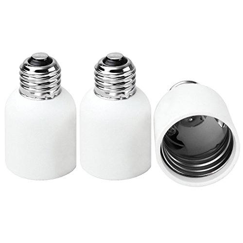 3-Pack E26/E27 to E39/E40 Adapter JACKYLED Medium(E26/E27) to Mogul (E39/E40)Light Bulb Lamp Socket Converter Max Watt 660W