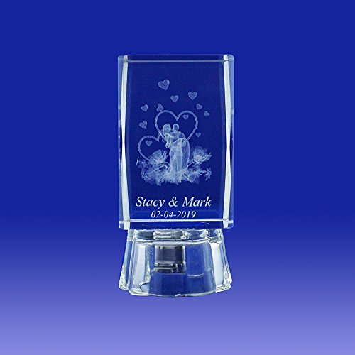 Nuestra Boda (12 PCS) Wedding Favors Personalized Custom Laser Etched Engraving 3D Bride & Groom Crystal Cube Glass (2.5″H)