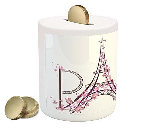 Pink Flower Bank (Lunarable Paris Coin Box Bank, Tower Eiffel with Paris Lettering Couple Trip Flowers Floral Artful Design Print, Printed Ceramic Coin Bank Money Box for Cash Saving, Plum Pale Pink)