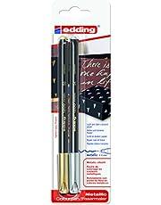 edding 1200/2metallic - Blister con 2 rotuladores, color oro / plata metálicos