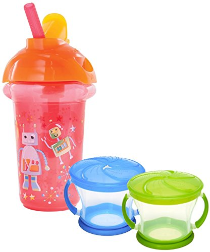 Munchkin Click Lock 9 Ounce Decorated Flip Straw Cup with 2 Pack Snack Catchers, Robot