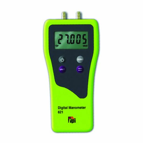 TPI 621 Dual Differential Input Manometer, 5 Digit LCD, -0.5 percent Accuracy, 0.01 H2O Resolution, -120 H2O Range