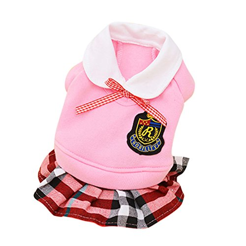 Idefair Spring and Autumn Dog Shirt Skirt Clothes Pet Clothing Campus Wind Dog Lattice Lovers Fashion Clothing (L, Pink (Poodle Skirt For Dogs)