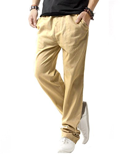 SIR7 Men's Linen Casual Lightweight Drawstrintg Elastic Waist Summer Beach Pants Khaki 2L