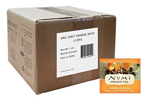 Numi Organic Tea, Orange Spice, White Tea Blend, 100 Count Bulk non-GMO Tea Bags (Packaging May Vary) Premium Bagged White Tea Blended w/ Real Orange Peel, Cinnamon, Hibiscus, Allspice, Ginger