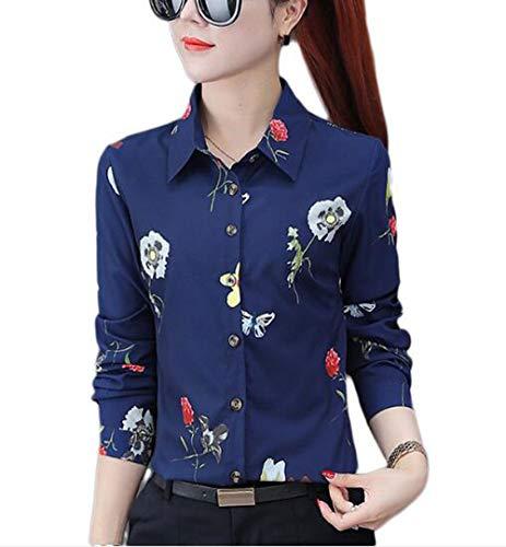 - Double Plus Open Women's Flower Patterned Button Up Shirt Long Sleeve Blouse Royal Blue Flower 4