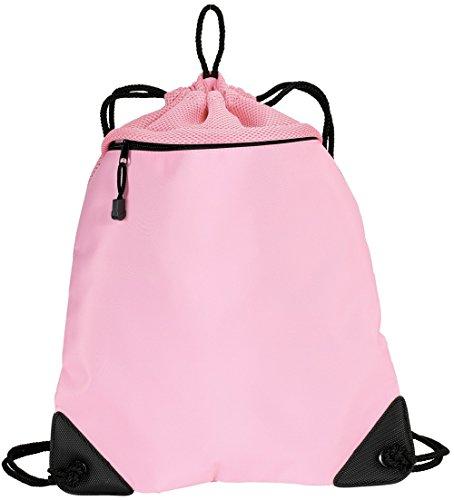 Cheap Drawstring Backpacks with Mesh Trim Heavy Duty Gym Sacks for Performance, Travel, Shopping (Pink)