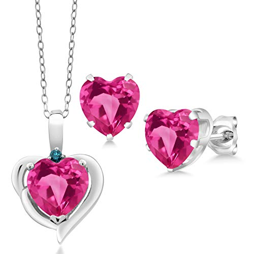 Topaz Diamond Pendant Earrings - Gem Stone King 7.22 Ct Heart Pink Mystic Topaz Blue Diamond 925 Silver Pendant Earrings Set